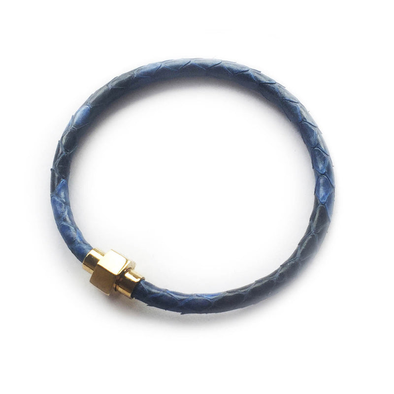 MOD BLUE PYTHON LEATHER BRACELET For Her By LAYKH