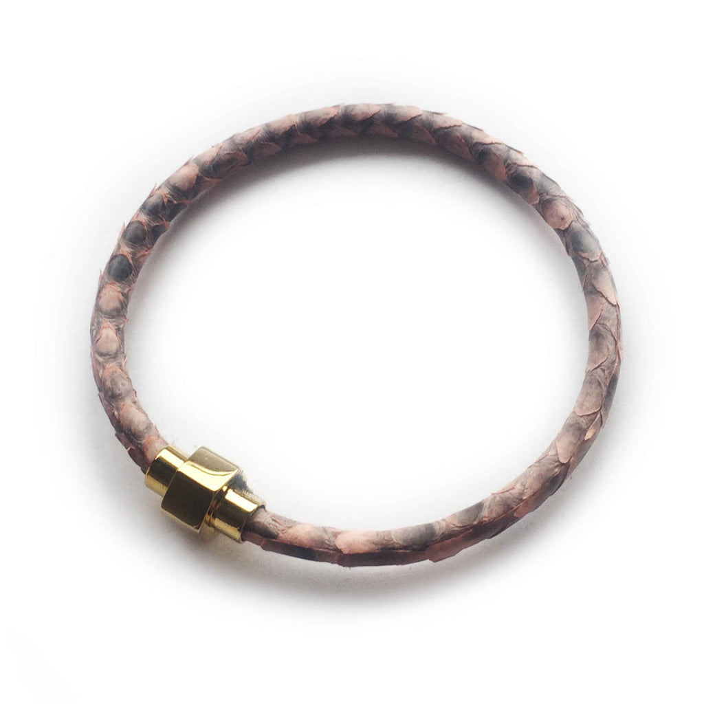 PINK PYTHON LEATHER BRACELET For Her by LAYKH