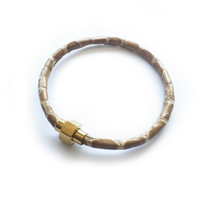TAN CROCODILE LEATHER BRACELET For Her By LAYKH