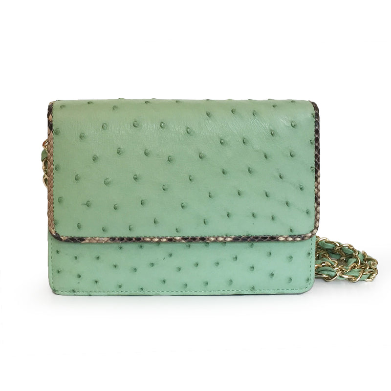LEX Cactus Green Ostrich Cross body Clutch Bag