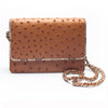 LEX Chestnut Brown Ostrich Cross body Clutch Bag