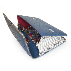 LEX Clemaris Blue Ostrich Cross body Clutch Bag