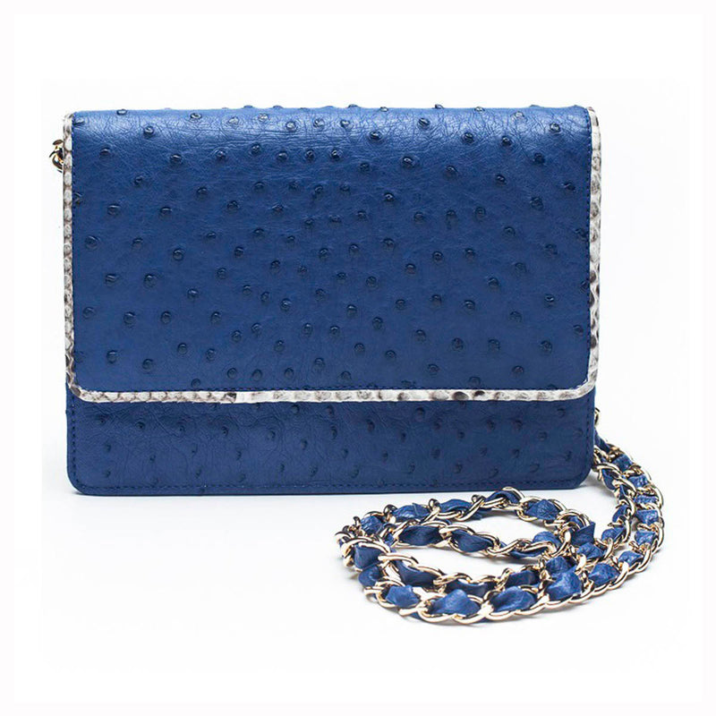 LEX Mod Blue Ostrich Cross Body Clutch Bag by LAYKH