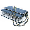 LEX Navy Blue Ostrich Cross Body Clutch Bag by LAYKH