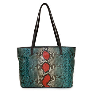 MALIKA Red & Green Python Shoulder Bag