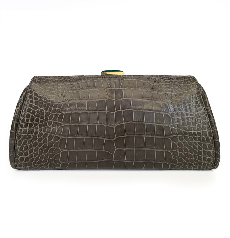 MEGHAN Large Grey Crocodile Clutch