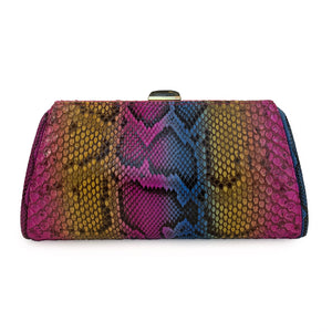 MEGHAN Multi Yellow Pink Blue Python Clutch By LAYKH