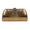 MEGHAN Metallic Rose Gold Python Clutch By LAYKH
