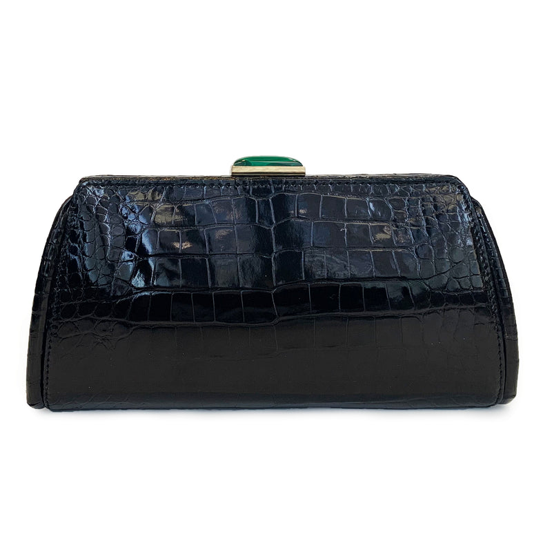 MEGHAN Black Crocodile Clutch
