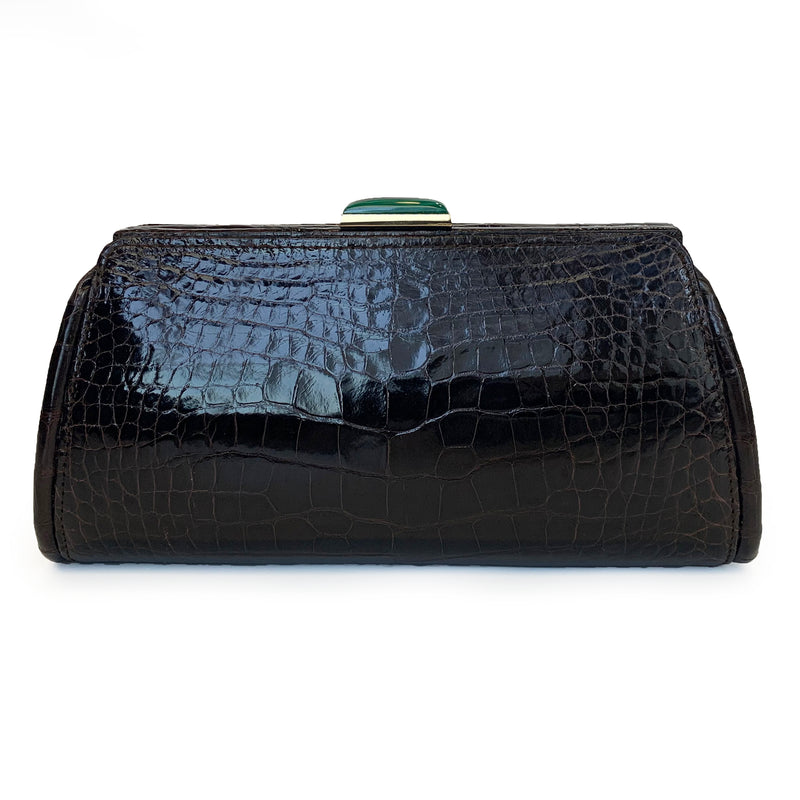 MEGHAN Brown Crocodile Clutch