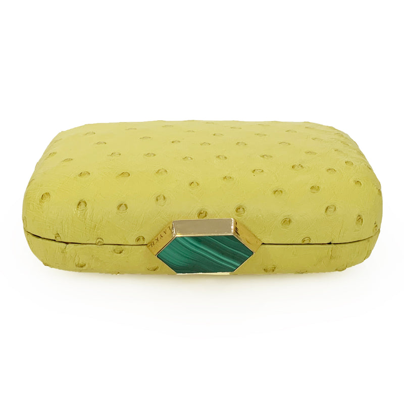 MONIKA Yellow Ostrich Minaudiere Box Clutch
