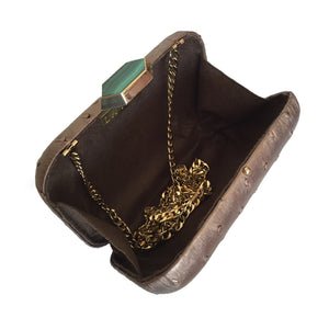 MONIKA Bronze Ostrich Minaudiere Box Clutch