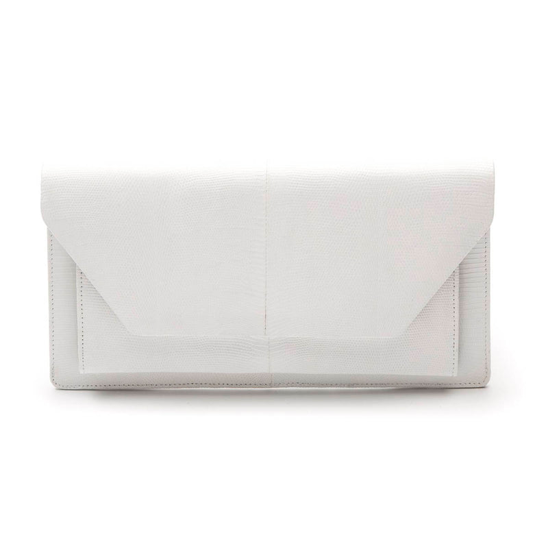 NICO White Lizard Clutch Bag by LAYKH