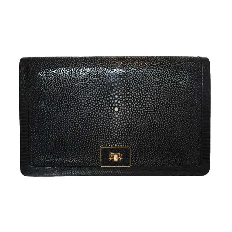 OLA (Large) Black Stingray and Lizard Cross Body Clutch Bag by LAYKH