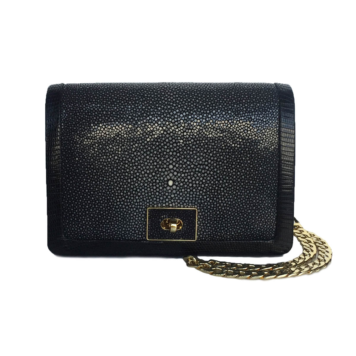 068a3a5e4f7b9 OLA Black Stingray and Lizard Cross Body Clutch Bag by LAYKH