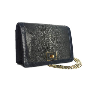 OLA Navy Blue Stingray and Lizard Cross Body Clutch Bag by LAYKH