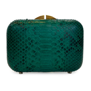 PHOENIX Emerald Green Python Box Clutch by LAYKH