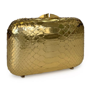 PHOENIX Gold Python Box Clutch