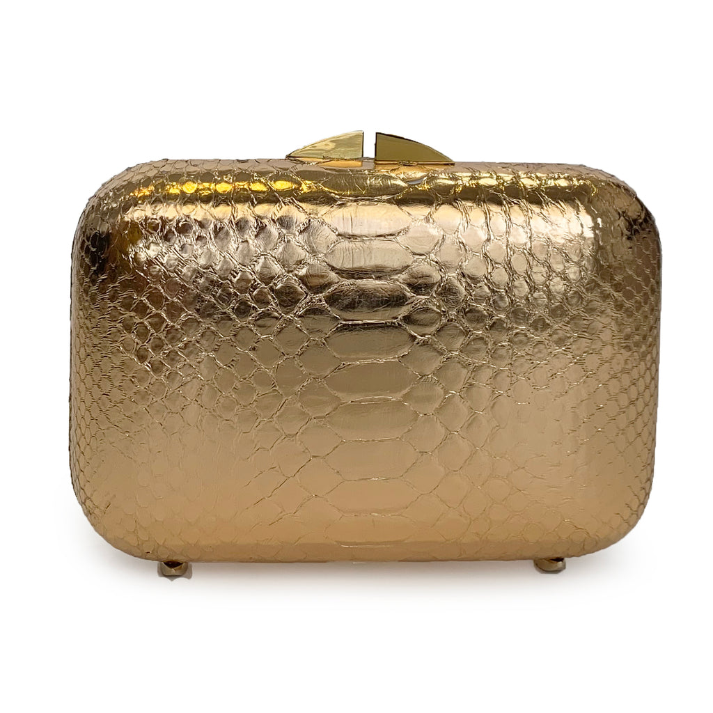 PHOENIX Rose Gold Python Box Clutch