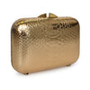 PHOENIX Metallic Rose Gold Python Box Clutch by LAYKH