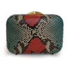 PHOENIX Red & Green Python Box Clutch by LAYKH