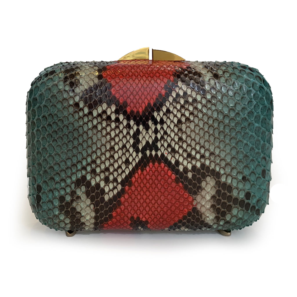 PHOENIX Red & Green Python Box Clutch