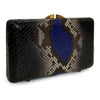 PHOENIX Multi Mod Blue & Black Python Minaudiere Box Clutch by LAYKH
