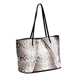 SANDRA Natural Python and Black Lambskin Shoulder Bag by LAYKH