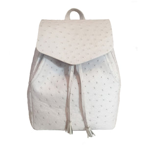 SHEETS White Ostrich Backpack by LAYKH