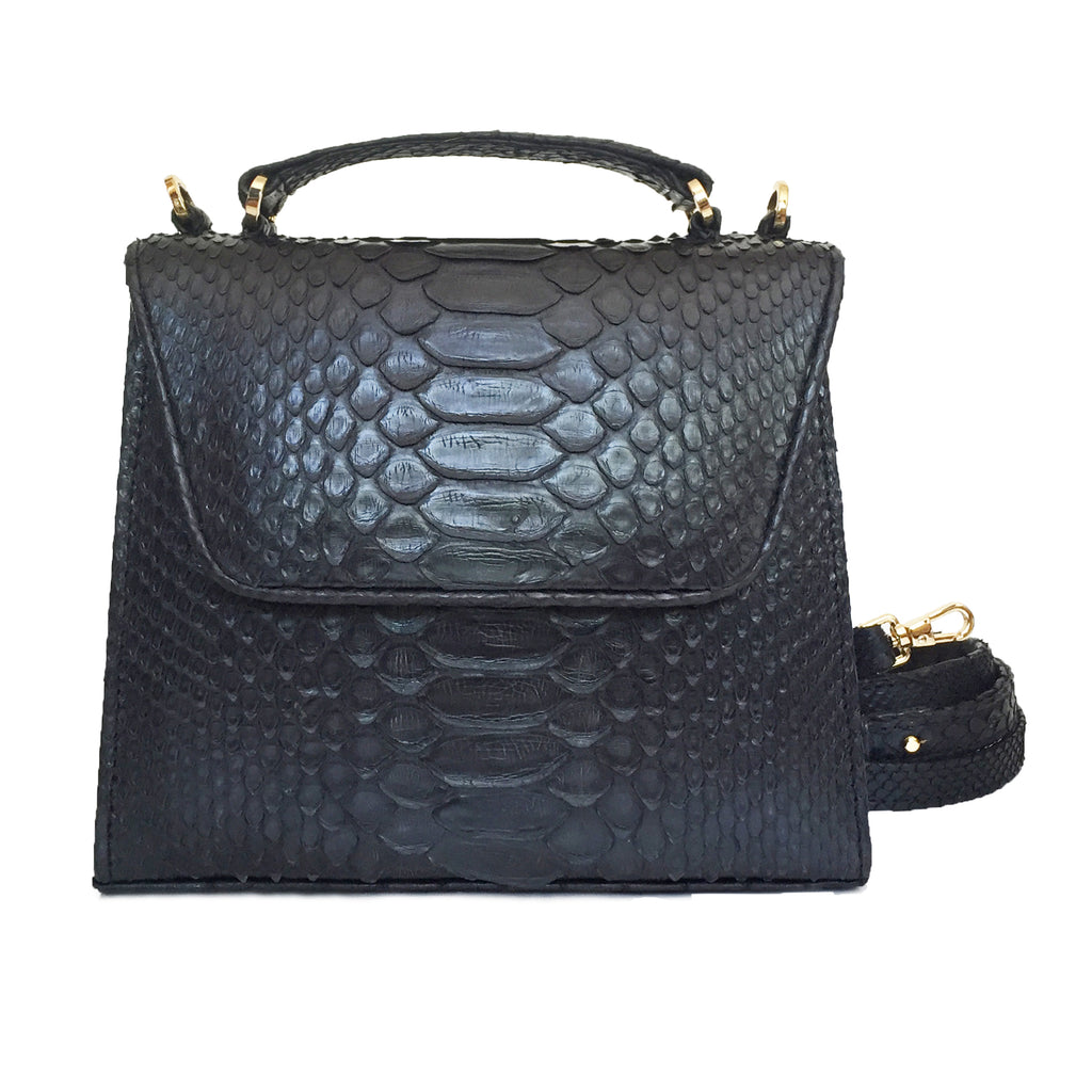 SUE Mini Black Python Tote and Cross Body Bag by LAYKH