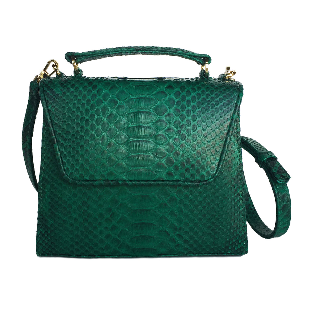 SUE Emerald Green Python Tote and Cross Body Bag by LAYKH