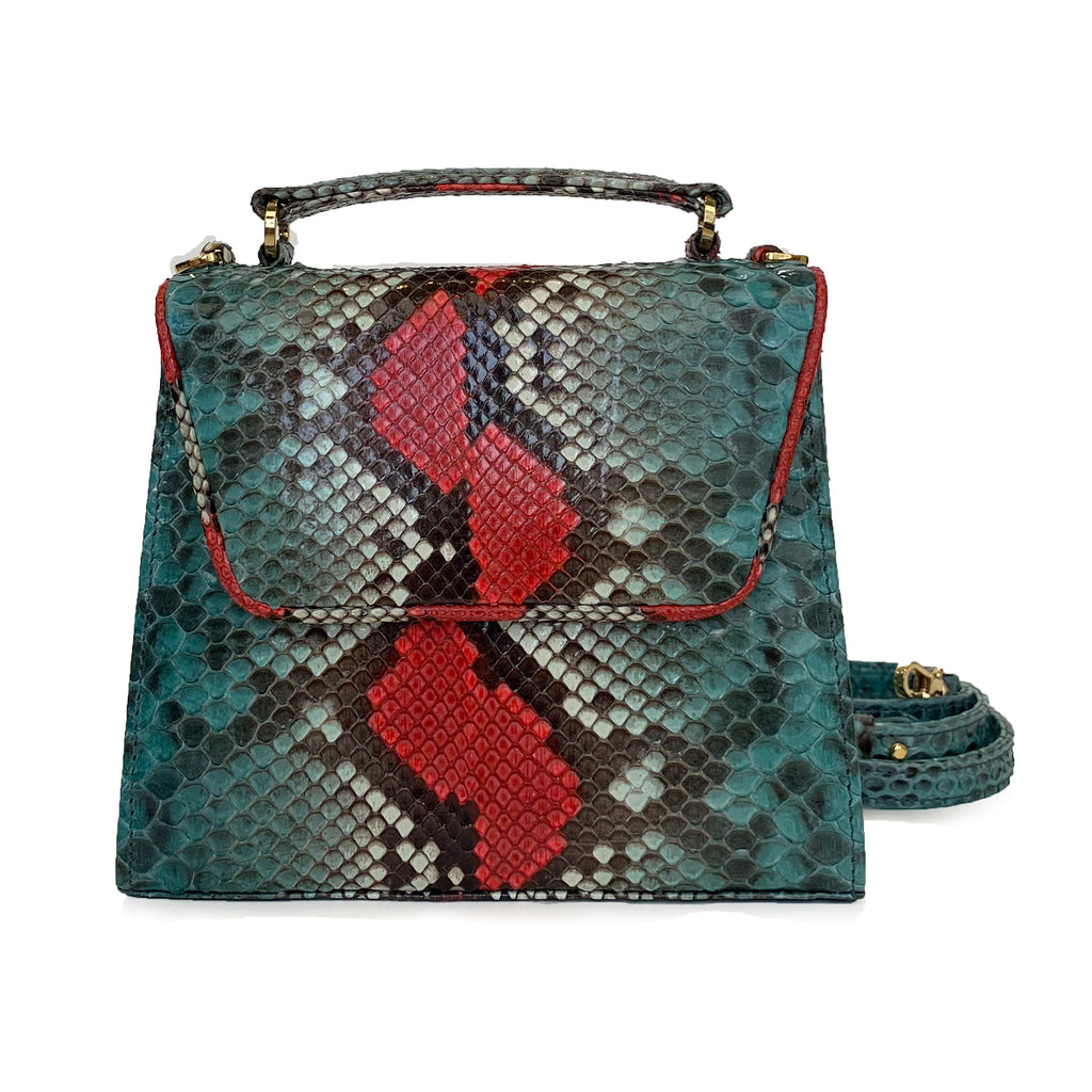 SUE Emerald Green and Red  Python Tote and Cross Body Bag by LAYKH