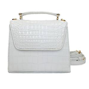 SUE (Mini) White Crocodile Tote and Cross Body Bag by LAYKH