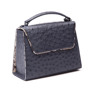 SUE Navy Blue Ostrich Tote and Cross Body Bag by LAYKH