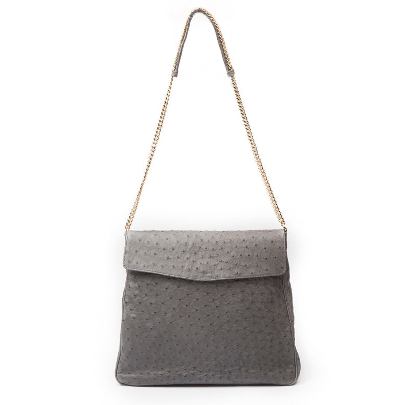 SUJ Grey Ostrich Hobo Shoulder Bag by LAYKH