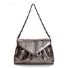 SUMMER Dark Grey Metallic Python Belly Clutch By LAYKH