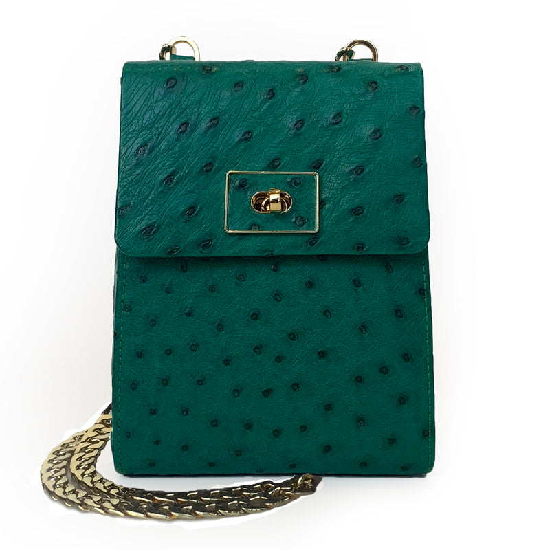 Suni Laykh Phone Bag (Forest Green Ostrich) Hong Kong Dubai