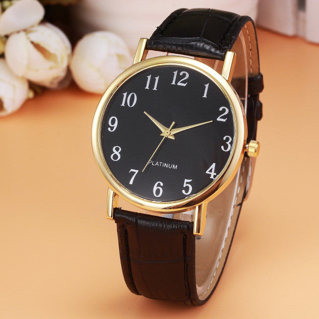 Genvivia Quartz Watch with Classic Design and Leather Band