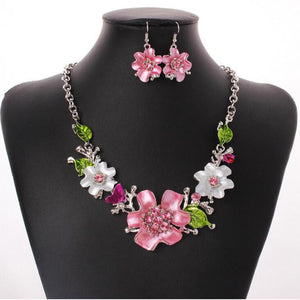 Fashion Wild flowers Diamond Necklace & Earring Set