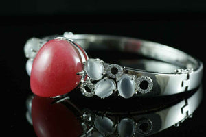 Vintage 44ct Cabochon Argentina Rhodochrosite Moonstone Bangles in 925 Sterling Silver