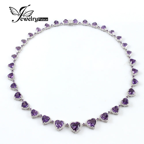 Genuine Heart Shape Amethyst Necklace in 925 Sterling Silver Fine