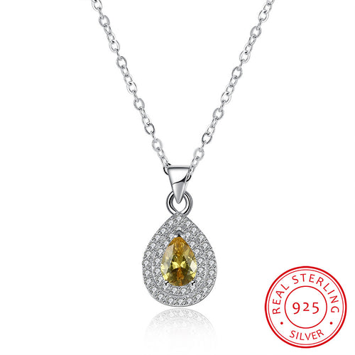 Silver Necklace with Water Drops Inlaid Yellow CZ Necklace