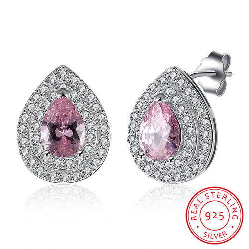 Silver Ear Clip Droplet Pink CZ Earrings