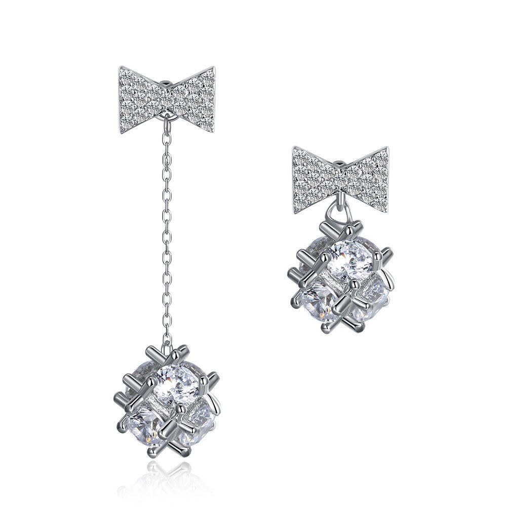 925 Silver Earrings Flower Ball with CZ