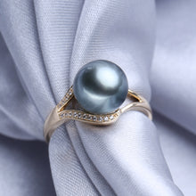 14K Gold Natural Round Tahitian Pearl Rings