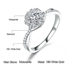 Moissanite Engagement Ring in White Gold 18k