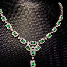 Created Emerald Necklace in 925 Sterling Silver