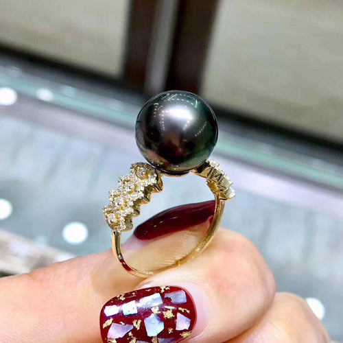 Classic 14K Gold Ring Round Natural Genuine Tahitian Pearl Rings