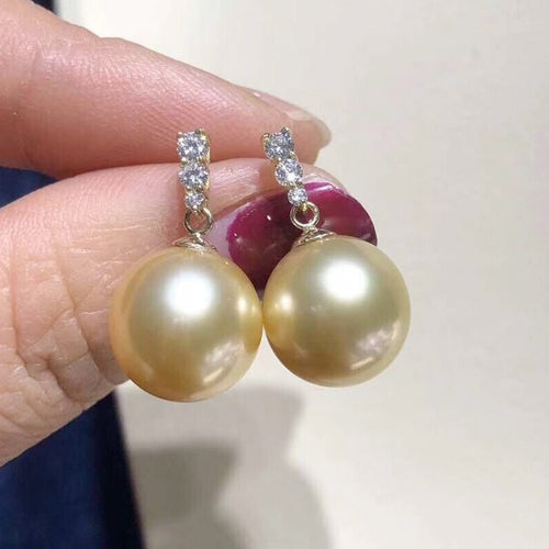 14k Natural South Sea Golden Pearl Earrings