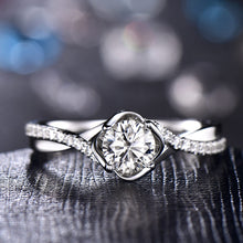 Moissanite Engagement Ring in 8k White Gold
